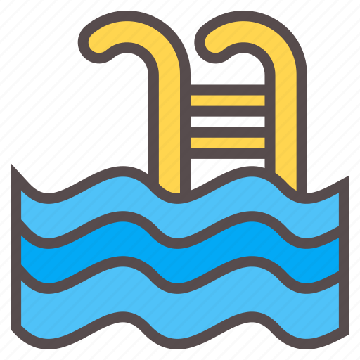 pool, stair, summer, swim, swimming, vacation, water icon
