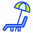 beach, chair, holiday, lounger chair, summer, umbrella, vacation icon