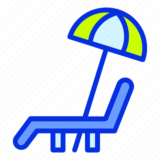 Beach, chair, holiday, lounger chair, summer, umbrella, vacation icon - Download on Iconfinder