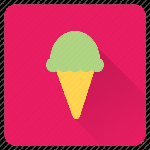 cone, cream, food, ice, on, summer, vacation icon