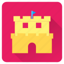 beach, castle, flag, play, sand, summer, vacation icon