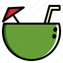 coconut, drink, ice, summer icon