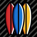 beach, summer, surfboard, surfing icon