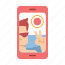 holiday, lifestyle, mobile, phone, selfie, summer, time icon