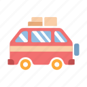 holiday, journey, summer, travel, travel van, vacation, van icon