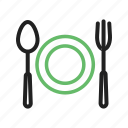 dinner, eat, food, fork, plate, spoon icon
