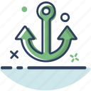 anchor, anchor icon, beach, sea, ship, summer, travel icon
