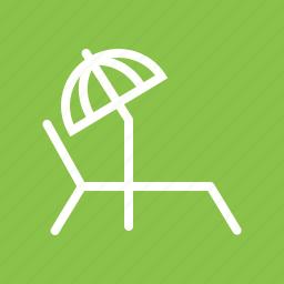 beach, chair, summer, sun, sun bathing, tanning, umbrella icon