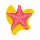 aquatic, logo, mollusk, sea, sea star, star, tropical icon