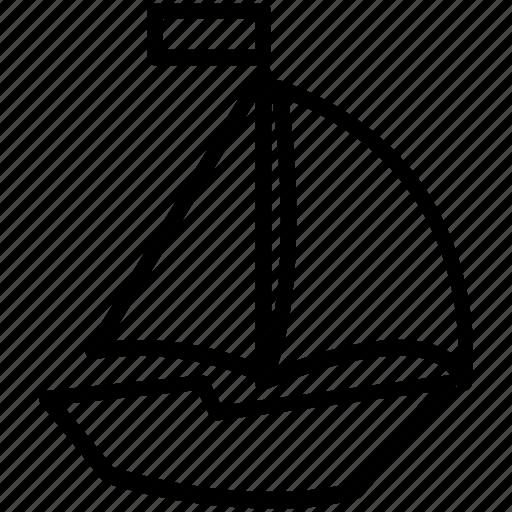 boat, line, sail, sea, summer icon