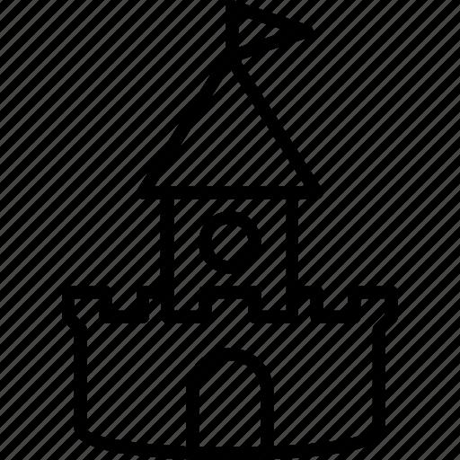 castle, line, sand, summer icon