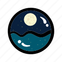 moon, moonlight, night, sea, sleep, view icon