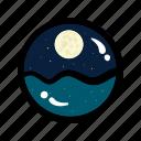 moon, moonlight, night, sea, sleep, travel, view icon