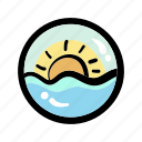 daylight, morning, summer, sun, sunrise icon