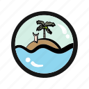 abandon, adventure, castaway, exile, island, survival icon