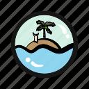 abandon, adventure, castaway, exile, island, leave, survival icon