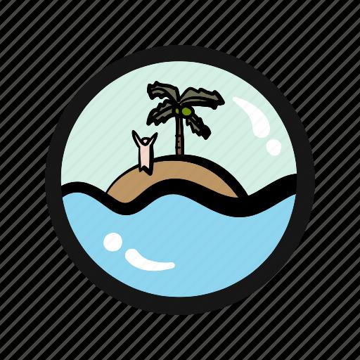 abandon, adventure, castaway, exile, island, survival icon
