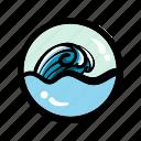 ocean, sea, summer, surf, travel, trip, wave icon