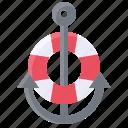 anchor, lifebuoy, sailor, summer icon