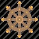 control, ship wheel, steer, summer icon