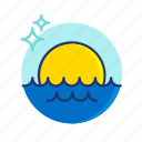 beach, sea, summer, sun, sunrise, sunset, vibes icon