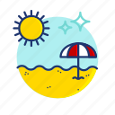 beach, sand, scene, summer, sun, umbrella, vibes icon