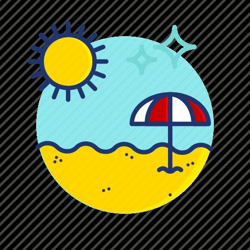 beach, sand, scene, summer, sun, umbrella, vibes icon