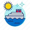 beach, boat, cruise, scene, summer, sun, vibes icon