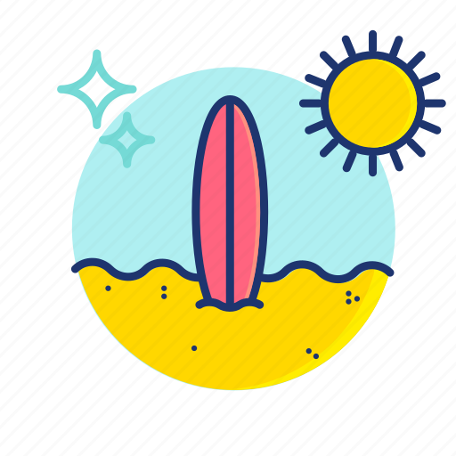 Beach, board, sand, summer, surf, surfboard, vibes icon - Download on Iconfinder