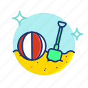 ball, beach, sand, shovel, summer, toy, vibes icon