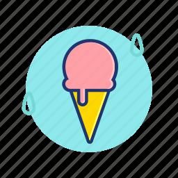 cone, cream, drop, ice, icecream, summer, vibes icon