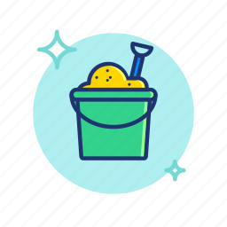 beach, bucket, cube, sand, summer, toy, vibes icon