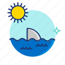 beach, ocean, scene, sea, shark, summer, vibes icon
