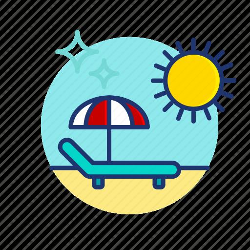 Beach, chair, hammock, summer, sun, umbrella, vibes icon - Download on Iconfinder