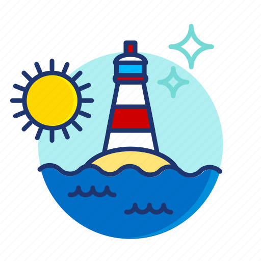 house, island, light, lighthouse, sea, summer, vibes icon