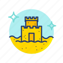 beach, castle, sand, sandcastle, summer, sun, vibes icon