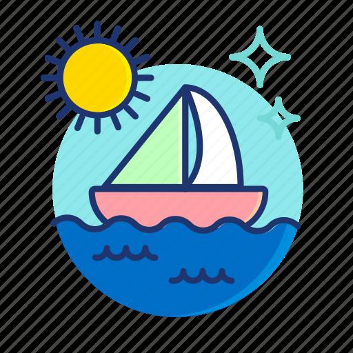 boat, sail, sailboat, sea, ship, summer, vibes icon