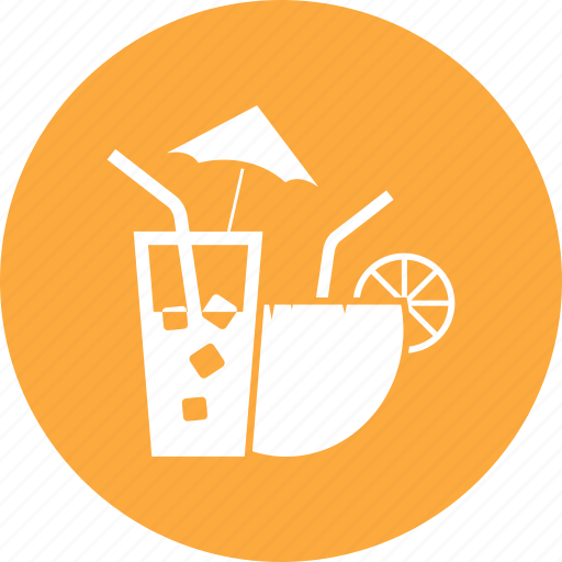coconut, drink, food, fruit, lemon, water icon