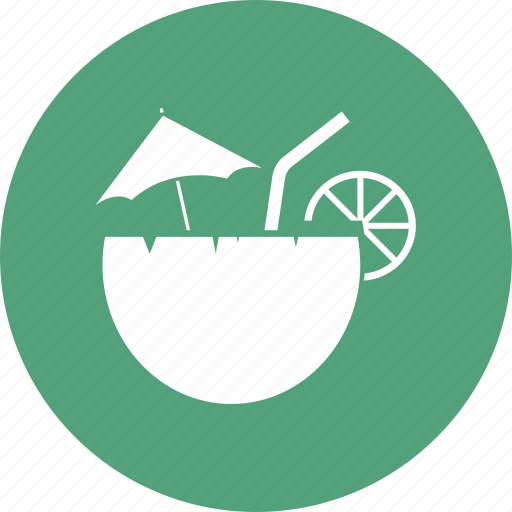 coconut, food, fruit, lemon, water icon