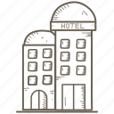 building, hotel, small icon