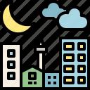 good night, weather, moon, sky, city, time, night icon