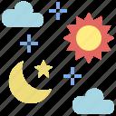 day, moon, night, sky, space, sun, time