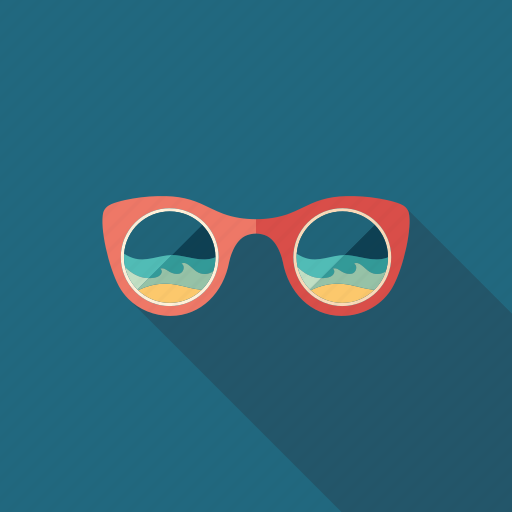 glasses, ocean, reflection, sea, summer, sunglasses, tourism icon