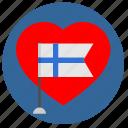 finland, heart, material, romantic, round, suomi icon