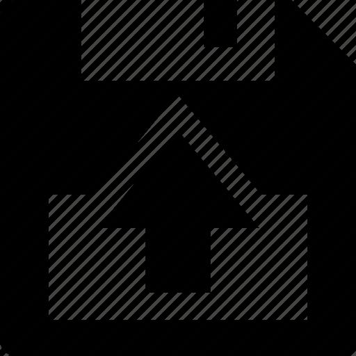 arrow, arrows, disc, floppy, out, save icon