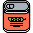 canned, cooking, food, peas, shop, supermarket, tin