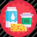 cheese, yoghurt, supermarket, milk, milk products icon
