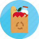 bag, fruit, groceries, market, milk, money, shopping bag icon