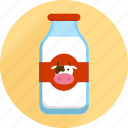bottle, cow, groceries, market, milk, shopping, supermarket icon