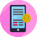 cellphone, mobile phone, money, payment, shopping icon